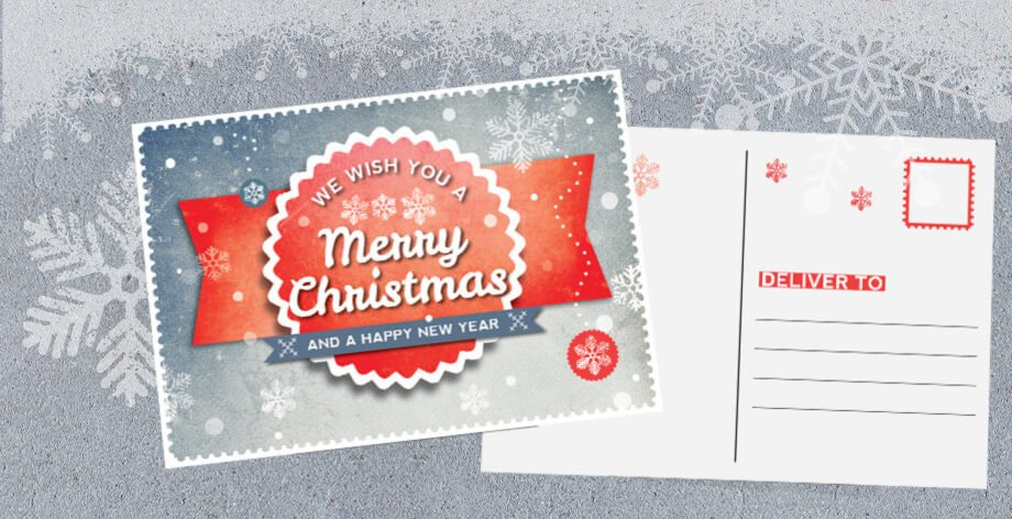 In Design Postcard Template Indesign Retro Christmas Postcard Template