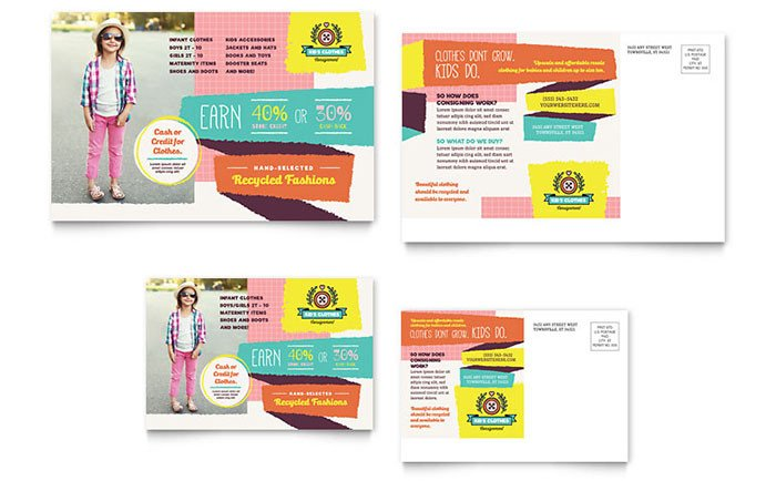 In Design Postcard Template Kids Consignment Shop Postcard Template Design