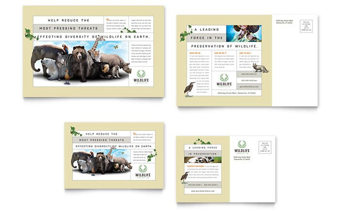 In Design Postcard Template Nature & Wildlife Conservation Postcard Template Design