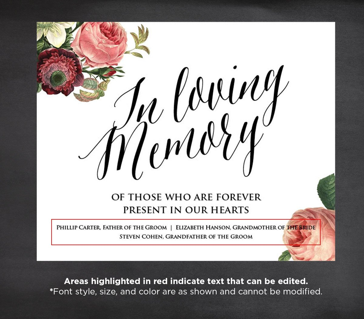 In Loving Memory Template Free F In Loving Memory Wedding Sign Template Editable