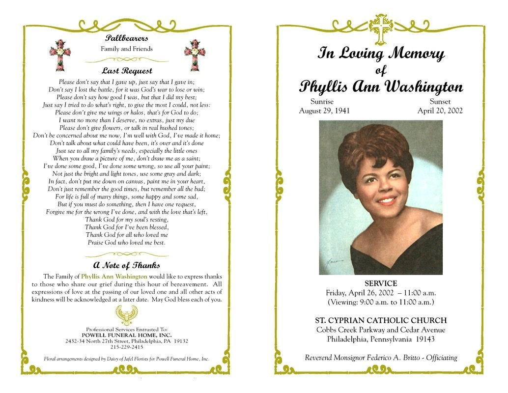 In Loving Memory Template Free Funeral Program Template Sample Free Loving Memory