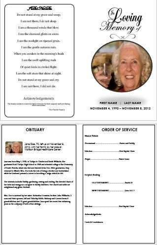 In Loving Memory Template Free In Loving Memory Traditional Single Fold Funeral