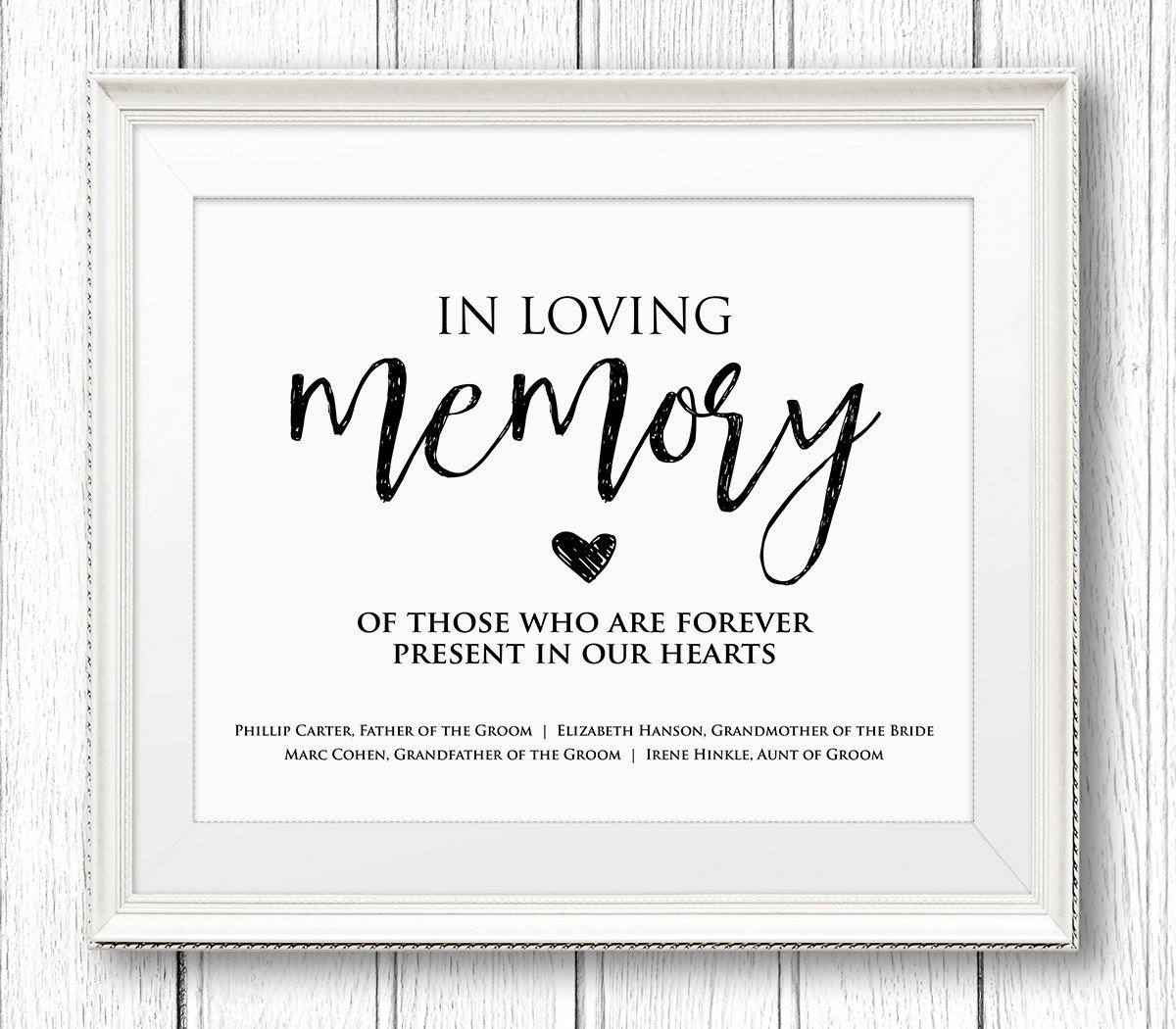 In Loving Memory Template Free In Loving Memory Wedding Sign Editable Text Personalize