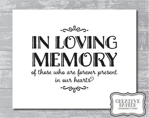 "In Loving Memory Template Free Instant Download In Loving Memory Sign 5x7 or 8x10"" Diy"