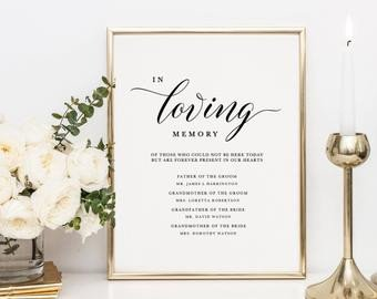In Loving Memory Template Free Memorial Table