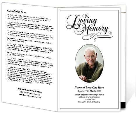 In Loving Memory Template Free Printable Funeral Programs Simple Funeral Program with