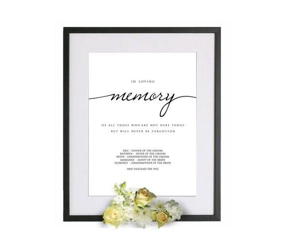 In Loving Memory Template Free Printable In Loving Memory Wedding Template In Loving Memory