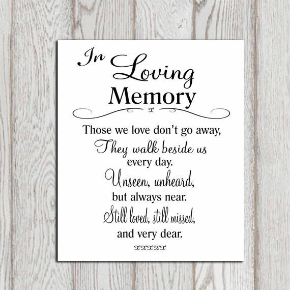 In Loving Memory Template Free Wedding Memorial Table In Loving Memory Printable Memorial