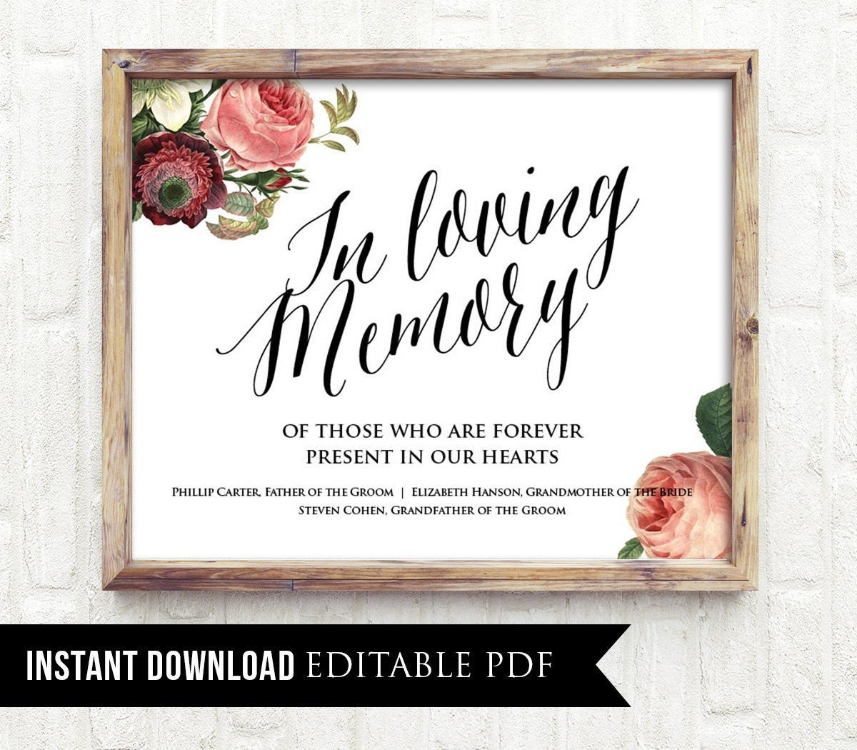 In Loving Memory Templates F In Loving Memory Wedding Sign Template Editable