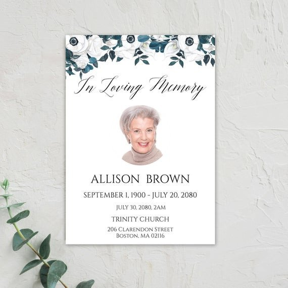 In Loving Memory Templates Funeral Program Template In Loving Memory Memorial Service