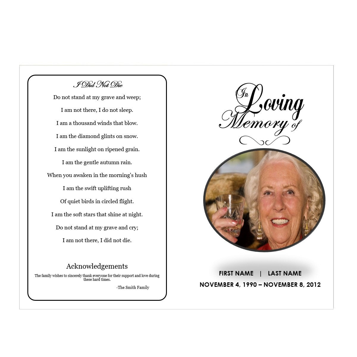 In Loving Memory Templates In Loving Memory Funeral Pamphlets
