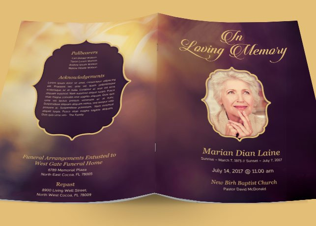 In Loving Memory Templates In Loving Memory Funeral Program Brochure Templates On
