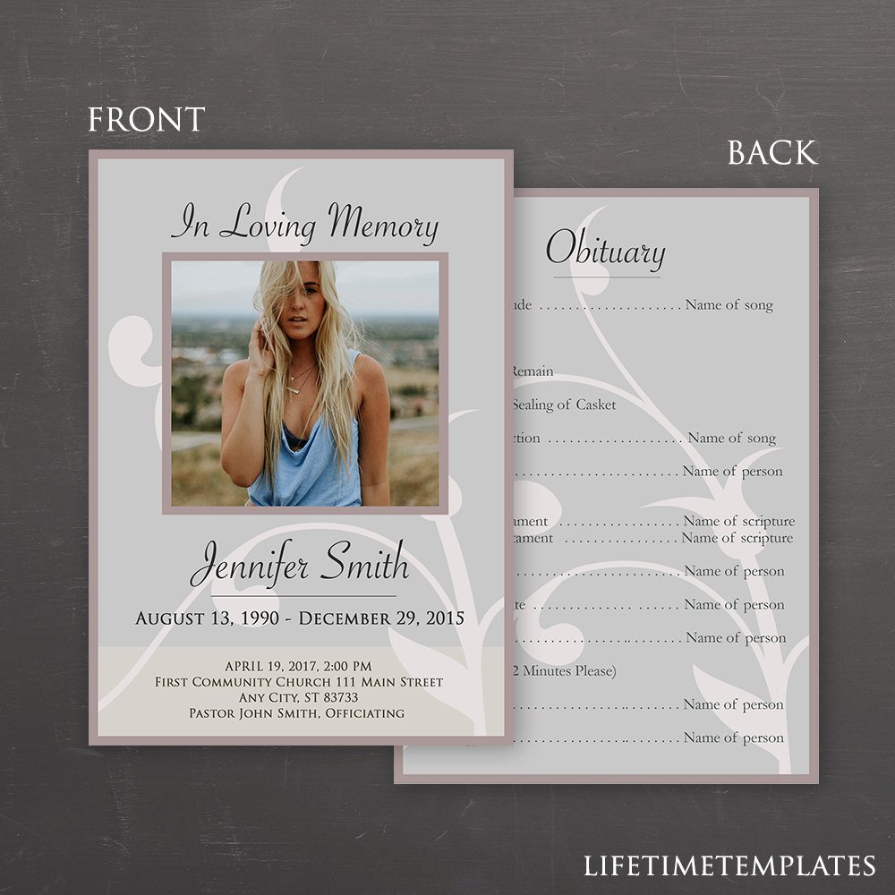 In Loving Memory Templates In Loving Memory Funeral Template Shop Psd Instant