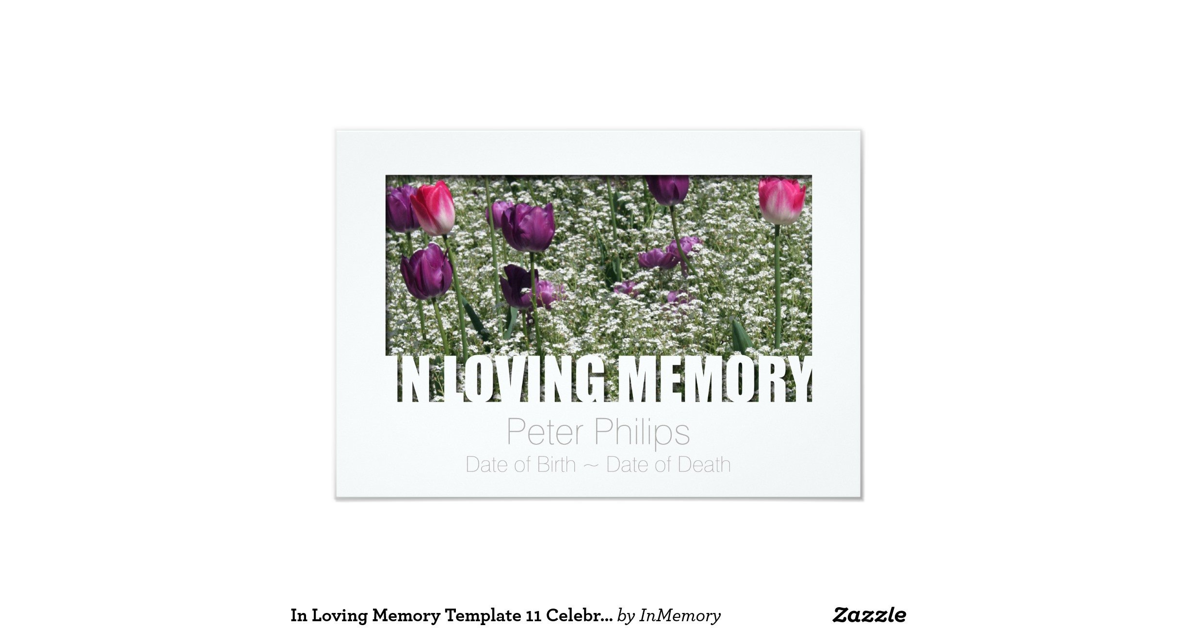 "In Loving Memory Templates In Loving Memory Template 11 Celebration Of Life 3 5"" X 5"