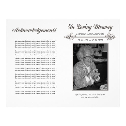 In Loving Memory Templates In Memoriam Loving Memory Funeral Booklet Template Flyer