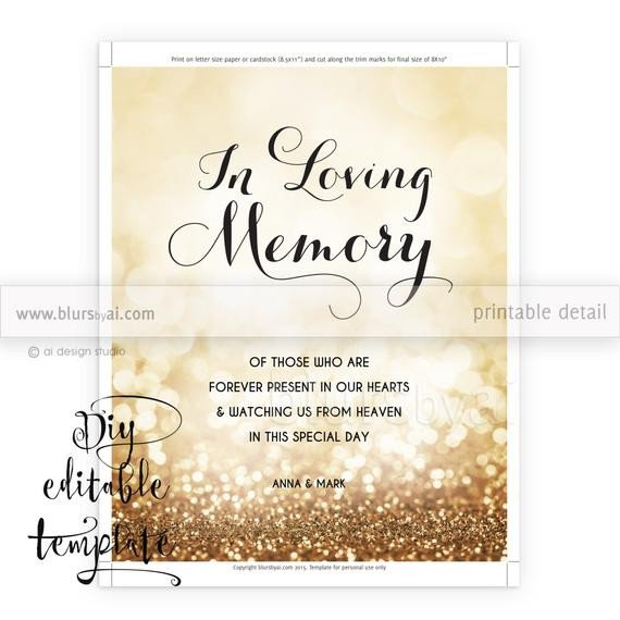 In Loving Memory Templates Printable Memorial Sign Template Diy Wedding Memorial
