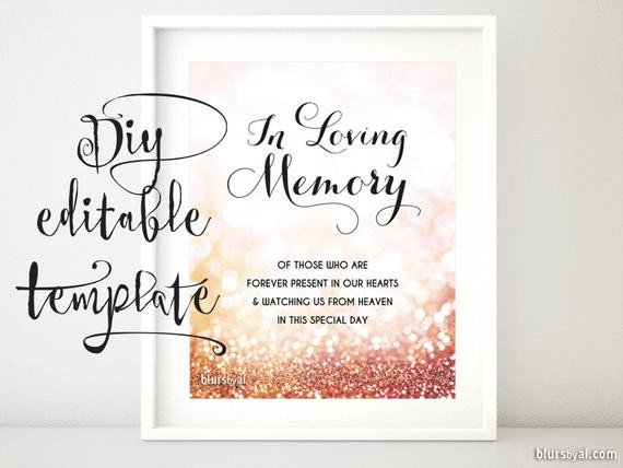 In Loving Memory Templates Printable Memorial Sign Template Diy Wedding Memorial Sign