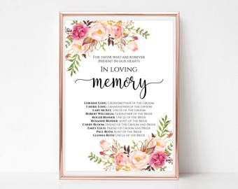 In Loving Memory Templates Wedding Memorial Table In Loving Memory Printable Memorial
