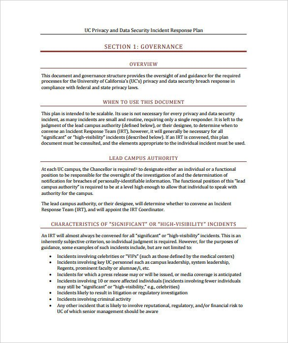 Incident Response Plan Template 11 Incident Response Plan Templates Pdf Word format