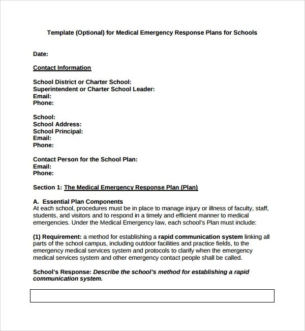 Incident Response Plan Template Sample Emergency Response Plan Template 9 Free