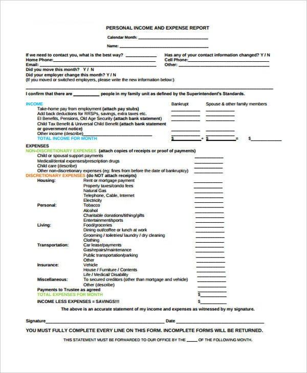 Income and Expense form 27 Printable Expense Report forms