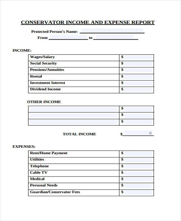 Income and Expense form 28 Expense Report form In Pdf