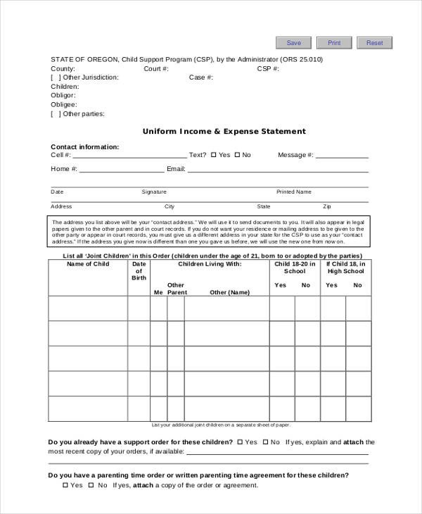 Income and Expense form 9 In E and Expense form Sample Free Sample Example
