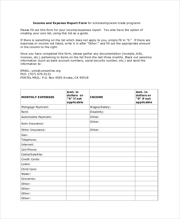 Income and Expense form Sample Expense Report 16 Documents In Pdf Word Docs