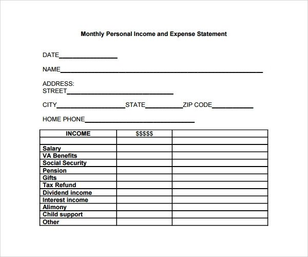 Income and Expense form Sample Expense Statement Template 13 Free Documents In
