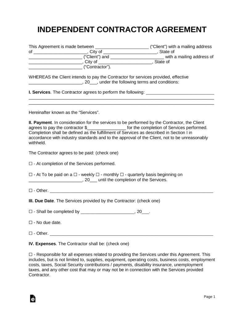 Independent Contractor Contract Template Free Independent Contractor Agreement Template Pdf