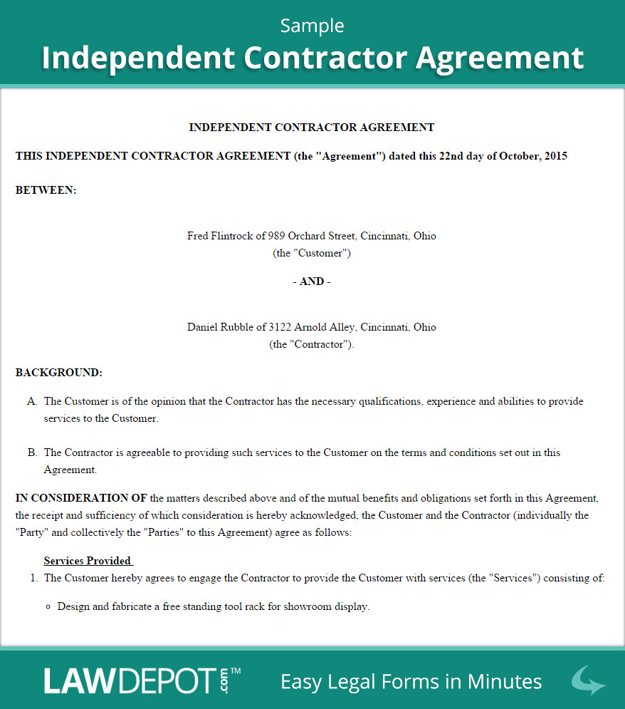 Independent Contractor Contract Template Independent Contractor Agreement Template Us