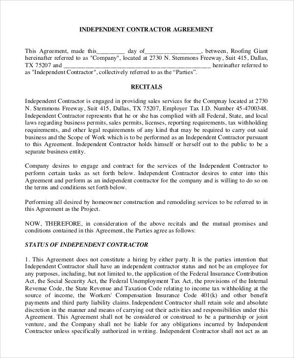 Independent Contractor Contract Template Sample Independent Contractor Agreement 10 Examples In