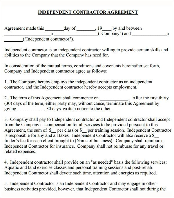 Independent Contractor Contract Template Sample Subcontractor Agreement 17 Free Documents