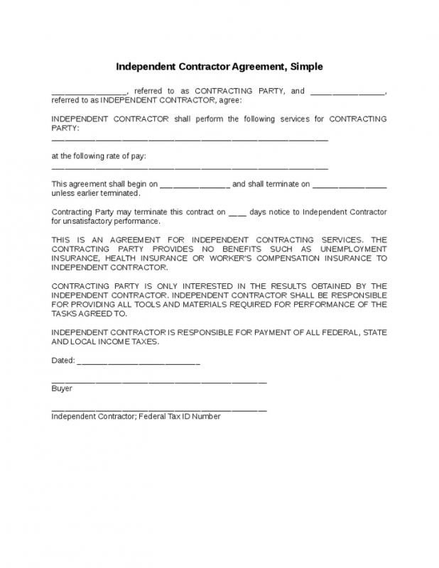 Independent Contractor Contract Template Simple Independent Contractor Agreement