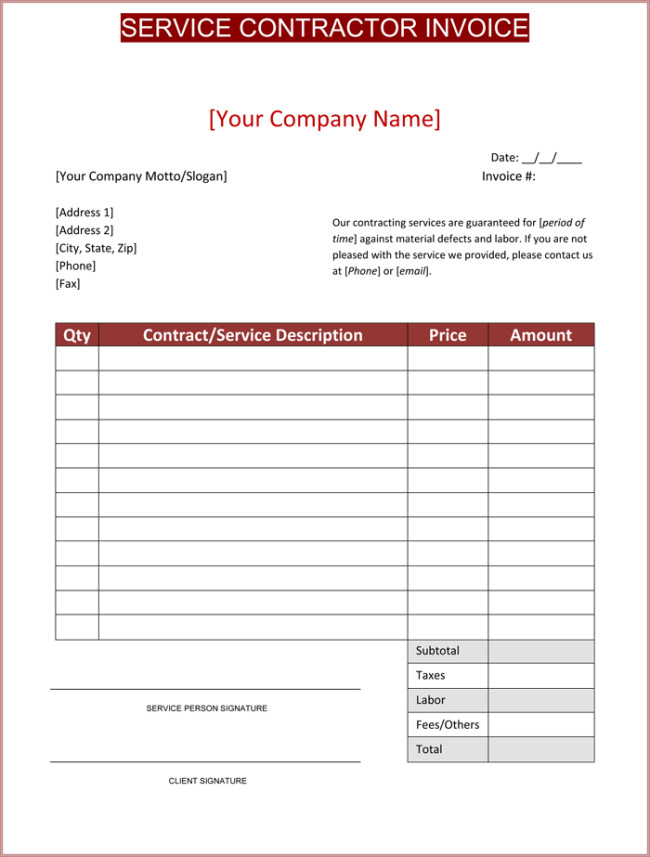 Independent Contractor Invoice Template Contractor Invoice Template 6 Printable Contractor Invoices