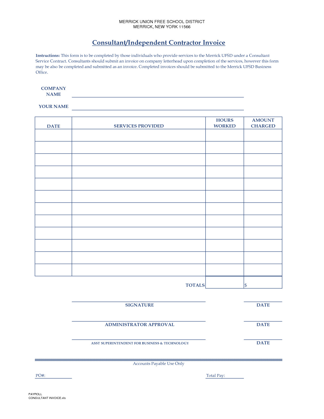 Independent Contractor Invoice Template Independent Contractor Invoice Template Free