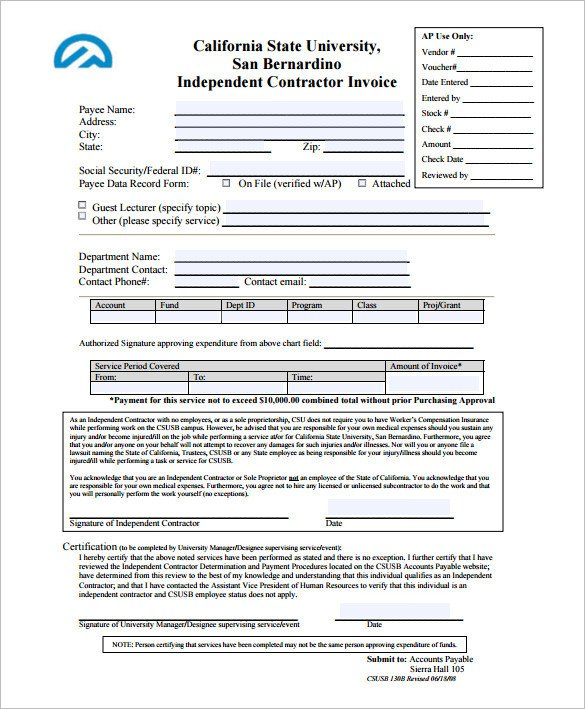 Independent Contractor Invoice Template Invoice Template for Mac Line