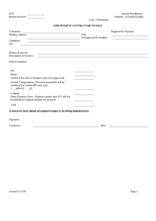 Independent Contractor Invoice Template top Independent Contractor Invoice Templates Free to