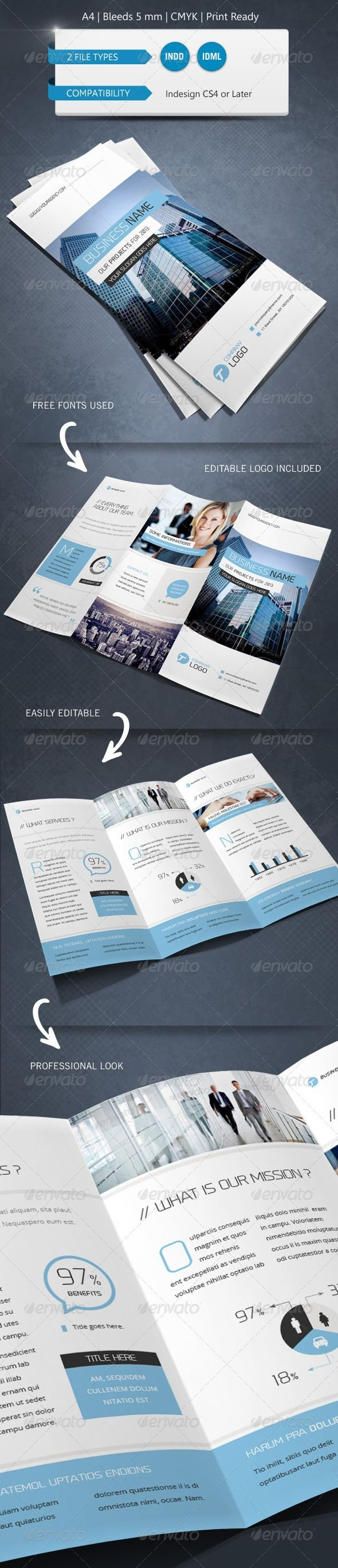 Indesign Trifold Brochure Templates Corporate Indesign Trifold Brochure Template