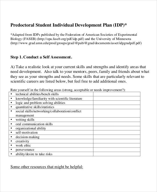 Individual Development Plan Template 15 Individual Development Plan Templates Free Sample