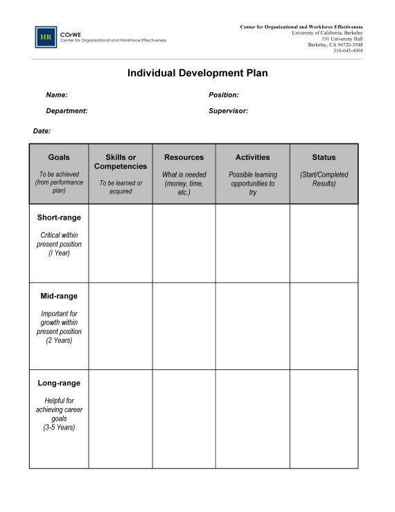 Individual Development Plan Template Employee Career Development Plan Template