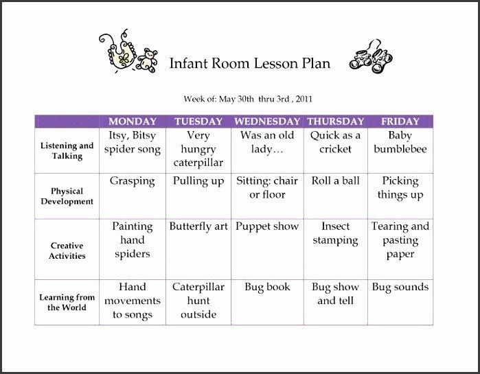 Infant Lesson Plan Template 6 Creative Curriculum Preschool Lesson Plan Template