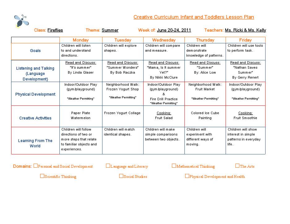 Infant Lesson Plan Template Emergent Curriculum Preschool Lesson Plan Template