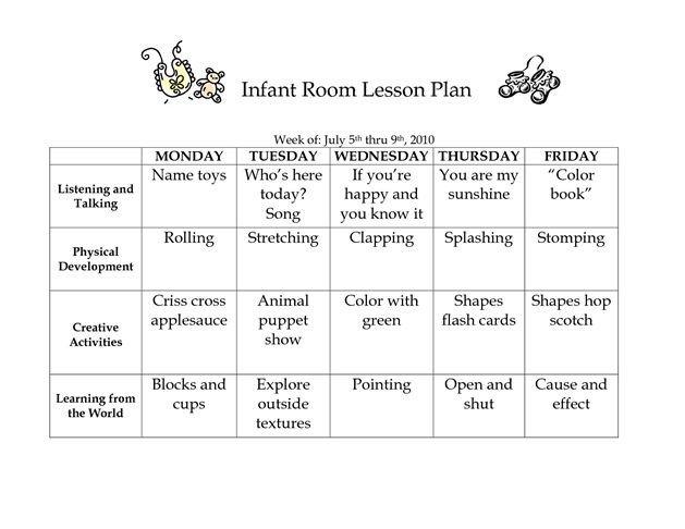 Infant Lesson Plan Template Infant Room Lesson Plan Westlake Childcare by Linzhengnd