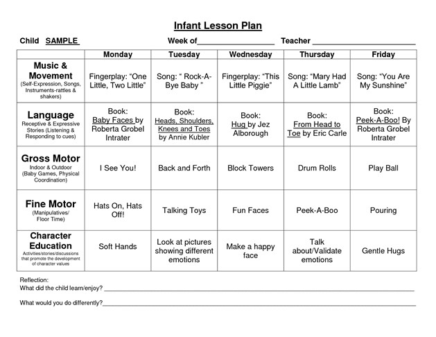 Infant Lesson Plan Template Provider Sample Lesson Plan Template School