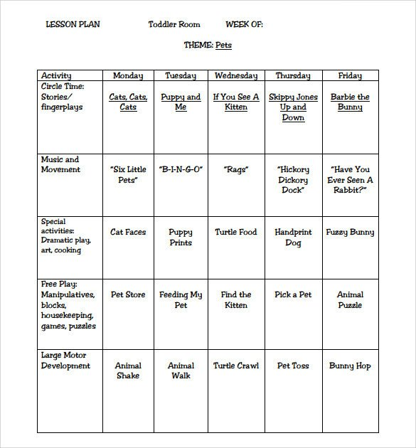 Infant Lesson Plan Template Sample toddler Lesson Plan 9 Example format