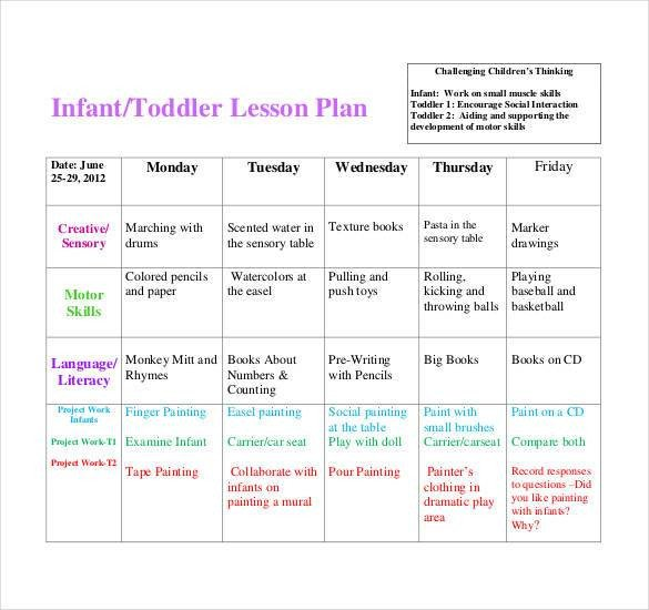 Infant Lesson Plan Templates 59 Lesson Plan Templates Pdf Doc Excel
