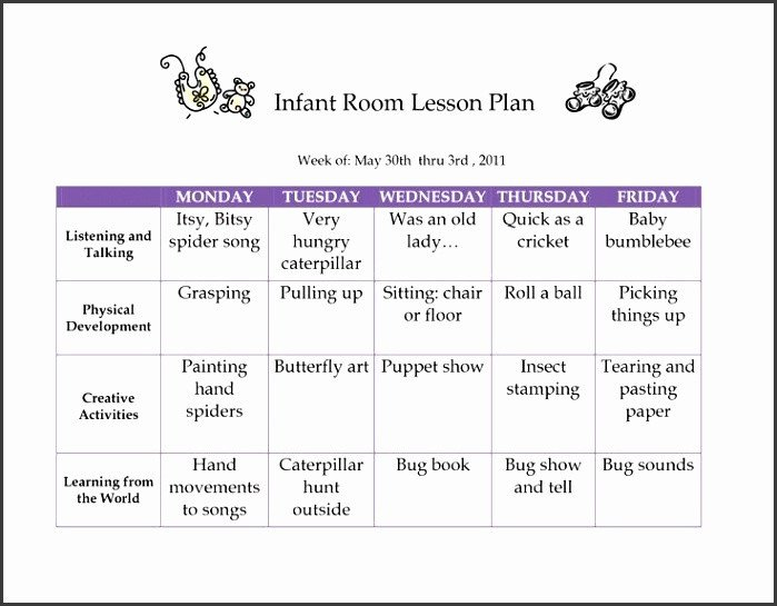 Infant Lesson Plan Templates 6 Creative Curriculum Preschool Lesson Plan Template