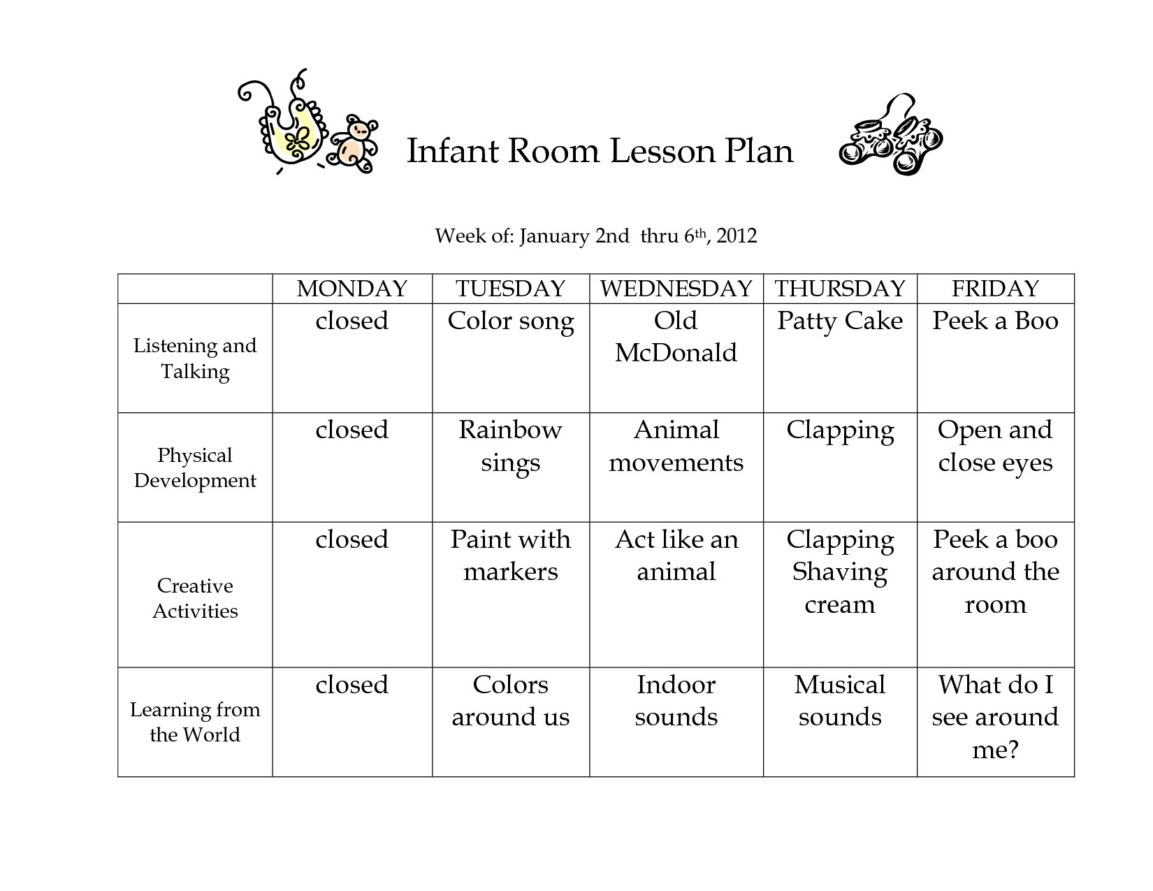 Infant Lesson Plan Templates Infant Blank Lesson Plan Sheets