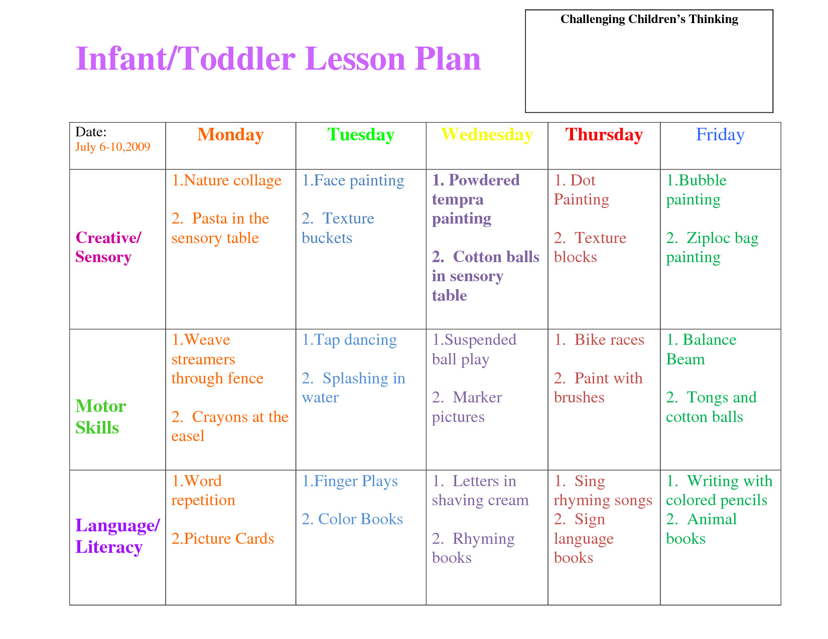 Infant Lesson Plan Templates Lesson Plan forms On Pinterest